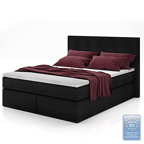 boxspringbett design doppelbett polsterbett bett hotelbett inkl topper 140x200 gelschaum topper. Black Bedroom Furniture Sets. Home Design Ideas