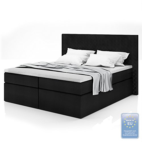 boxspringbett design doppelbett polsterbett bett hotelbett inkl topper 180x200 gelschaum topper. Black Bedroom Furniture Sets. Home Design Ideas
