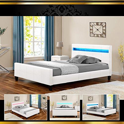 luna led luxus wei 180x200cm polsterbett doppelbett bettgestell bettrahmen mit lattenr. Black Bedroom Furniture Sets. Home Design Ideas