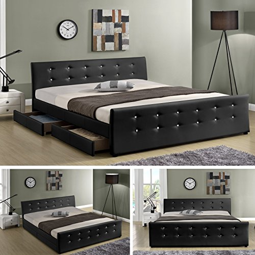 luxusbett ph nix schwarz doppelbett polsterbett mit 4 bettkasten bett lattenrost kunstleder. Black Bedroom Furniture Sets. Home Design Ideas