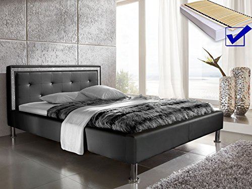 polsterbett dave 140x200 schwarz lattenrost matratze strassband lifestyle bett singlebett. Black Bedroom Furniture Sets. Home Design Ideas