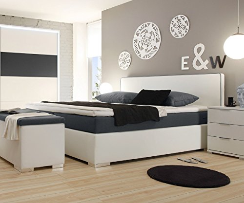 polsterbett norwich weiss 180x200 mit matratze topper boxspringbett gelschaum topper. Black Bedroom Furniture Sets. Home Design Ideas