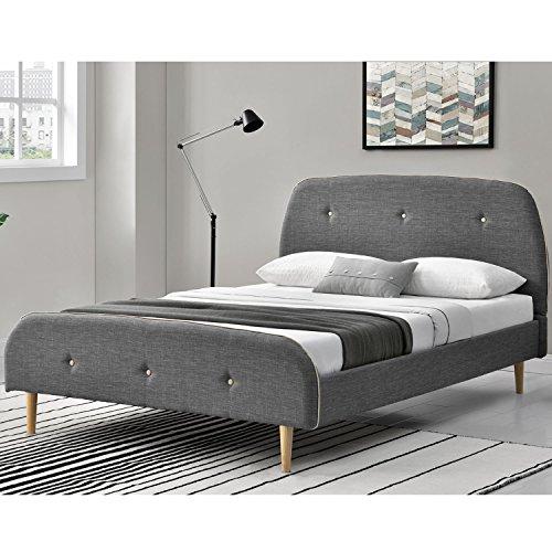 polsterbett vigo 140 x 200 cm dunkelgrau mit lattenrost gelschaum topper. Black Bedroom Furniture Sets. Home Design Ideas