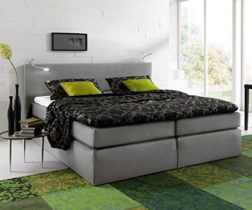 bett alan grau 180x200 bett mit matratze und topper boxspringbett gelschaum topper. Black Bedroom Furniture Sets. Home Design Ideas