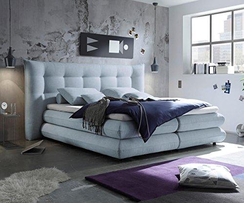 bett manola hellblau 180x200 cm matratze topper federkern boxspringbett gelschaum topper. Black Bedroom Furniture Sets. Home Design Ideas
