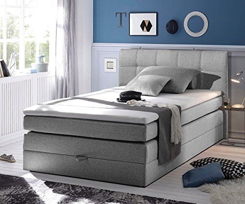 bett neptuno grau 140x200 cm matratze topper federkern bettkasten boxspringbett gelschaum topper. Black Bedroom Furniture Sets. Home Design Ideas