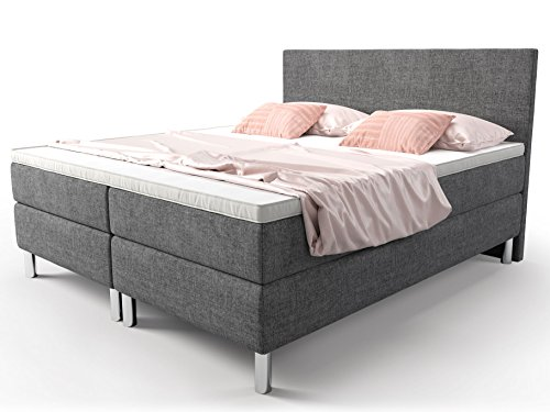 boxspringbett grau doppelbett hotelbett cosmo webstoff fein ehebett taschenfederkern topper. Black Bedroom Furniture Sets. Home Design Ideas