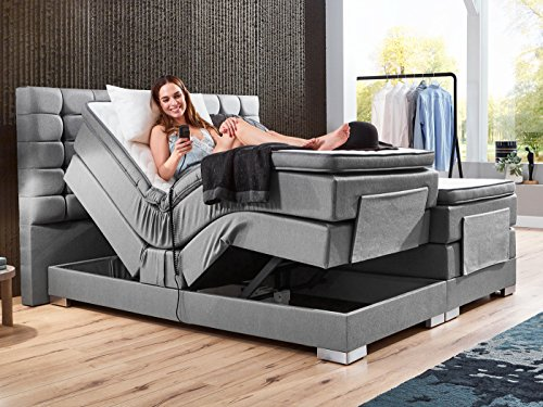 boxspringbett elektrisch verstellbar 180 200x200cm taschkenfederkern doppelbett ehebett grau. Black Bedroom Furniture Sets. Home Design Ideas