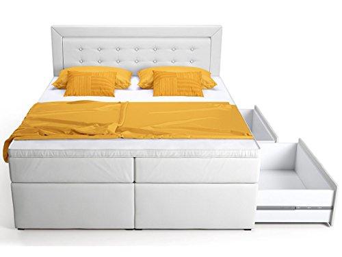 boxspringbett mit bettkasten schubkasten wei schwarz celia doppelbett hotelbett. Black Bedroom Furniture Sets. Home Design Ideas