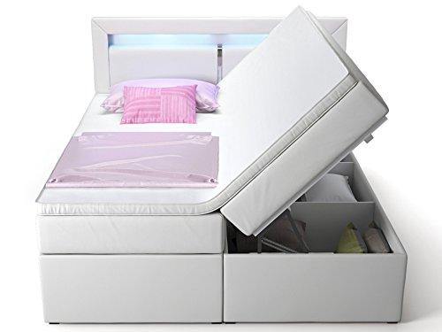 Boxspringbett mit Bettkasten weiß Sofia2 LED Beleuchtung Doppelbett Hotelbett Topper Taschenfederkern