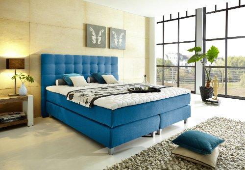 """Modell """"Rockstar"""" von WELCON: Luxus Boxspringbett 180x200 Härtegrad H3 in blau inkl. Topper - Premiumklasse für 5 Sterne Hotels - günstig direkt vom Importeur"""