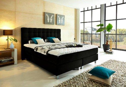 """Modell """"Rockstar"""" von WELCON: Luxus Boxspringbett 180x200 Härtegrad H3 in schwarz inkl. Topper - Premiumklasse für 5 Sterne Hotels - günstig direkt vom Importeur"""