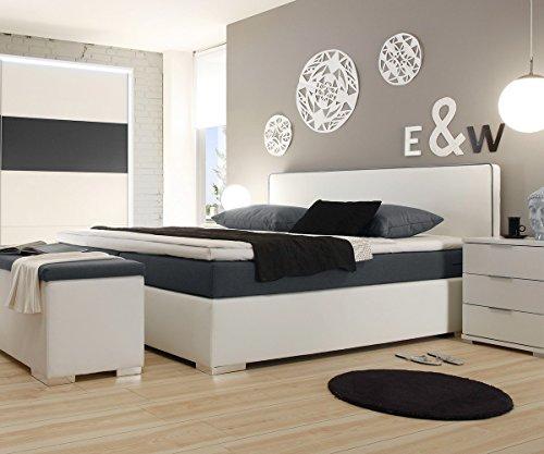 polsterbett norwich weiss 180x200 mit matratze topper boxspringbett gelschaum topper. Black Bedroom Furniture Sets. Home Design Ideas