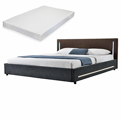 mybed elegantes led polsterbett mit kaltschuam matratze h2 140x200cm kopfteil wildlederimitat. Black Bedroom Furniture Sets. Home Design Ideas