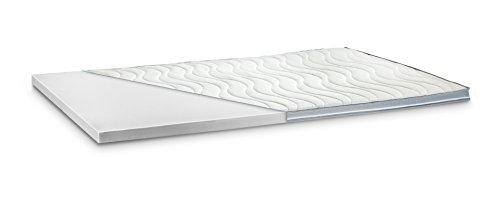 Kaltschaum Topper Matratzenauflage | 7 cm Gesamthöhe | Härte wählbar | abnehmbarer und waschbarer Bezug | Bezug wahlweise mit 3D-Mesh-Klimaband und Stegkanten | H3 - fest | 3D-Exclusive Bezug | 90 x 200 cm