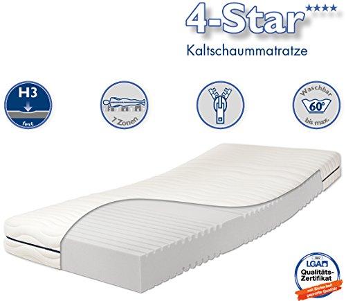 Traumnacht 4-Star - Orthopädische 7-Zonen Kaltschaummatratze Härtegrad 3 (H3), 140 x 200 cm, weiß