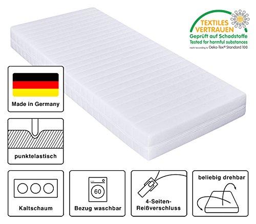 Kaltschaummatratze, Härtegrad H2 & H3, Matratze mit 7 Zonen, Größe wählbar, Rollmatratze, Made in Germany (90 x 200 cm, H3)