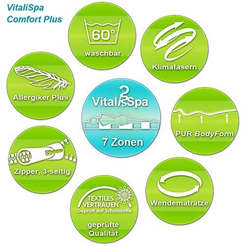 VitaliSpa® Calma Comfort Plus 7 Zonen Premium Kaltschaum Matratze (90 x 200 cm, H3 - 7 Zonen)