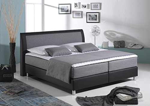 maintal boxspringbett sharon 140 x 200 cm stoff 7 zonen kaltschaum matratze h3 silbergrau. Black Bedroom Furniture Sets. Home Design Ideas