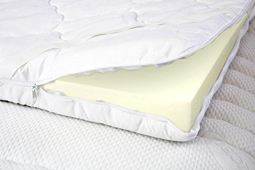 MSS 100320-200.100.6 ProComfort Visco Topper mit versteppten Bezug Schaumstoffmatratze, Polyester, weiß, 200 x 100 x 6 cm