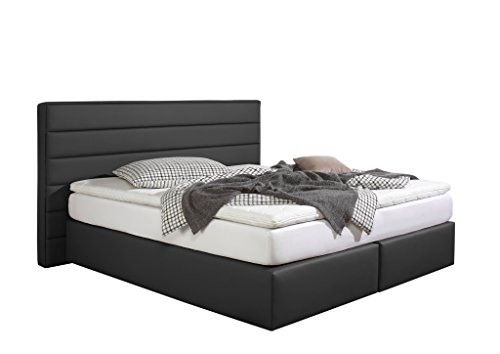 maintal boxspringbett toulouse 140 x 200 cm kunstleder bonellfederkern matratze h2 schwarz. Black Bedroom Furniture Sets. Home Design Ideas