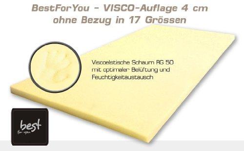 Best For You Viscoelastische Matratzenauflage Visco Matratzen - Auflage ohne Bezug - 11 Grössen 4 cm SUPER ANGEBOT! (80x180)