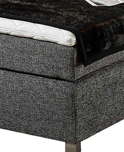 Maintal Boxspringbett Howard, 100 x 200 cm, Strukturstoff, Bonellfederkern Matratze H2, grau