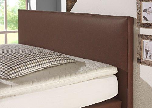 Maintal Boxspringbett Luxor, 100 x 200 cm, Kunstleder, Bonellfederkern Matratze h3, Braun