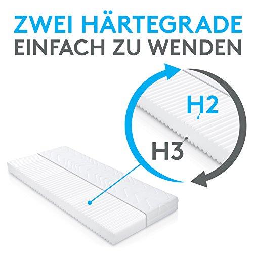 BELVANDEO I Orthopädische Kaltschaum-Matratze mit 7-Zonen I ACTIVE SENSE I H2 & H3 wendbar bis 120-kg I bequem schlafen I höchster Komfort im Bett I Bezug waschbar I 90x200-cm I Made in Germany