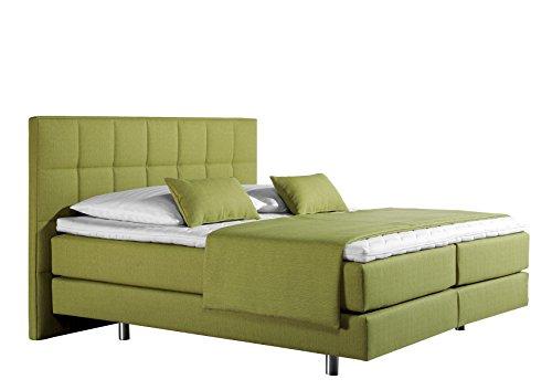 Maintal Boxspringbett Neon, 100 x 200 cm, Strukturstoff, 7-Zonen-Kaltschaum Matratze h3, lemon
