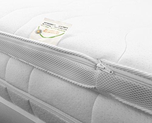 H2 Topper Matratzenauflage 140x200 Kaltschaum mit Bezug versteppt 7cm - Schlafen wie auf Wolken