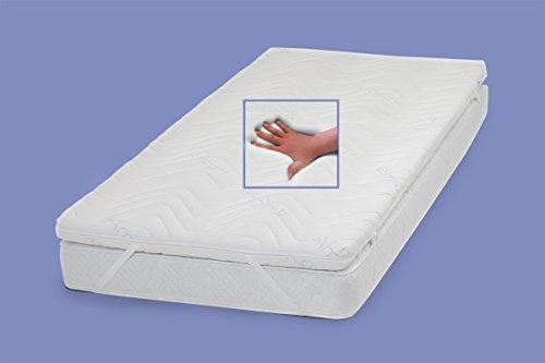 Gel / Gelschaum Matratzenauflage Topper Höhe 9 cm, 160 x 200 cm , mit Amicor pure Bezug, Auflage für Matratze soft / weich = Schlafen wie auf einem Wasserbett ohne seine Nachteile