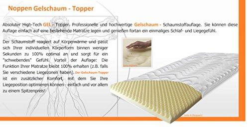 Orthopädischer Gelschaum Topper < Extra Soft > mit Noppen - Höhe ca. 6 cm (Kern ca. 5 cm) Raumgewicht 65 Kg/m³ (180 x 200 cm)