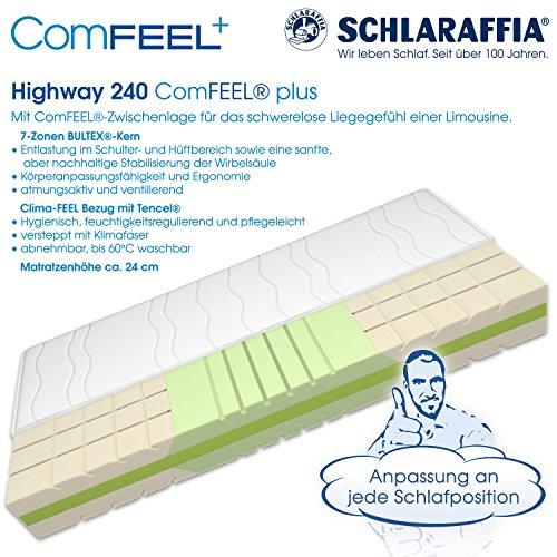 Schlaraffia Highway 240 ComFEEL 7-Zonen Kaltschaum-Matratze H4 (100 x 200cm)
