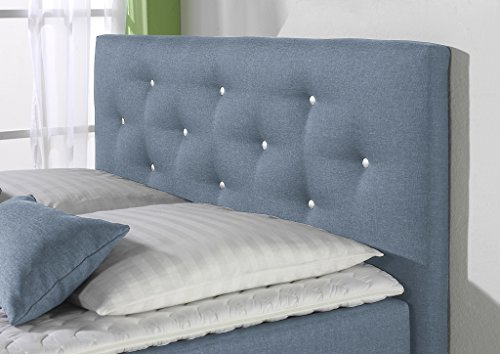 Maintal Boxspringbett Kingston, 180 x 200 cm, Stoff, 7-Zonen-Tonnentaschenfederkern Matratze h2, Jeansblau