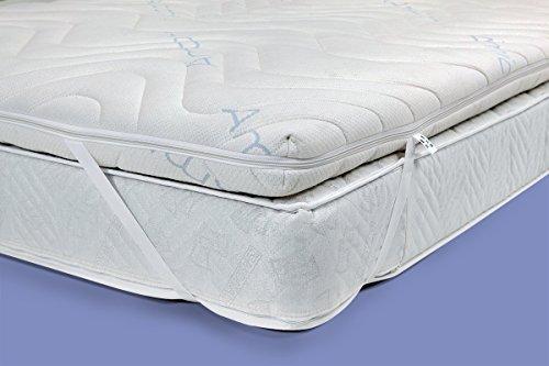 Gel / Gelschaum Matratzenauflage Topper Höhe 12 cm, 200 x 200 cm mit Amicor pure Bezug, Auflage für Matratze soft / weich = Schlafen wie auf einem Wasserbett ohne seine Nachteile