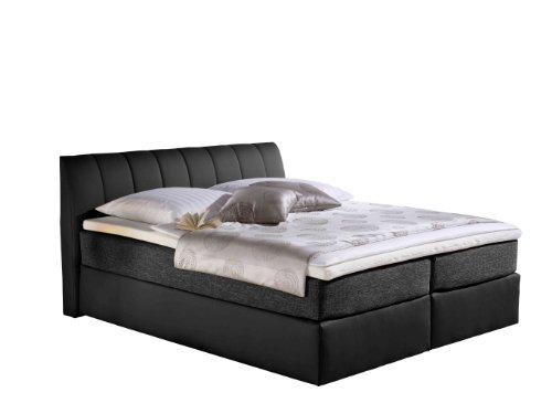 Maintal Boxspringbett Vanilla, 140 x 200 cm, Strukturstoff, Tonnentaschenfederkern Matratze H3, schwarz