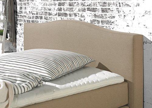 Maintal Boxspringbett Franklin, 140 x 200 cm, Stoff, 7-Zonen-Taschenfederkern Matratze h2, Beige