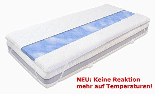Gel / Gelschaum Matratzen Topper Blue Sensation Höhe 6 cm, 80 / 90 / 100 x 190 / 200 cm temperaturneutral Auflage für Matratze, Matratzenauflage reagiert nicht auf Temperatur soft / weich inkl. Bezug