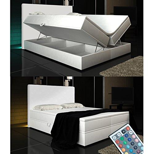 Boxspringbett Weiß Lift 180x200 inkl. 2 Bettkästen Hotelbett Bett LED