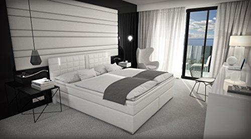 Boxspringbett Weiß mit Lautsprecher LED Kopflicht VISCO Martratze Kunstleder Hotelbett Polsterbett Ajna