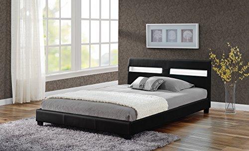 Doppelbett Polsterbett Bettgestell Bett Lattenrost Kunstleder LED