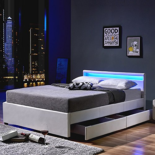 Home Deluxe | LED Bett | Nube | Weiß | inkl. Schublade | verschiedene Größen |