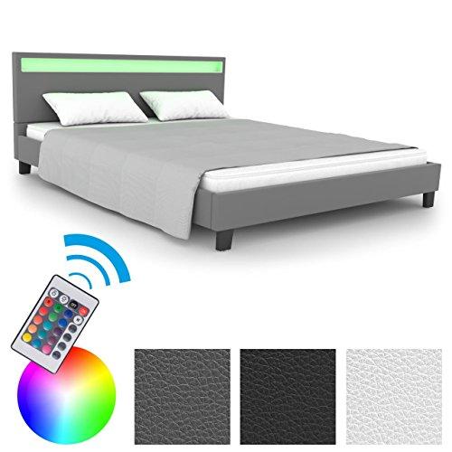 Homelux LED Bett Polsterbett Doppelbett Kunstlederbett Bettgestell Bettrahmen 140 x 200 cm