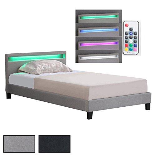 Polsterbett Einzelbett Doppelbett SATOKA, inklusive Rollrost und LED Beleuchtung, Designbett mit Stoffbezug, 120 x 200 cm