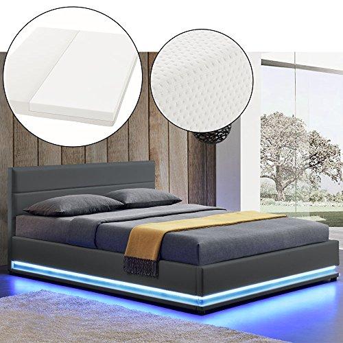 polsterbett toulouse 140 x 200 cm dunkelgrau mit lattenrost kaltschaummatratze artlife. Black Bedroom Furniture Sets. Home Design Ideas