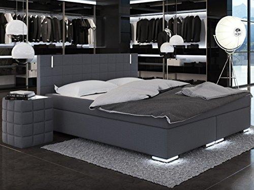 SAM® Design Boxspringbett Berlin mit Neo Stoff®-Bezug in anthrazit, LED-Beleuchtung an Füßen & Kopfteil, Bonellfederkern-Matratze, Nosag-Unterfederung , 180 x 200 cm