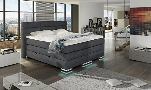 xxl roma boxspringbett mit bettkasten designer boxspring bett led design grau stoff rechteck. Black Bedroom Furniture Sets. Home Design Ideas