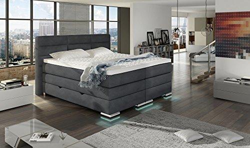 XXL ROMA Boxspringbett mit Bettkasten Designer Boxspring Bett LED DESIGN Grau Stoff Rechteck Design