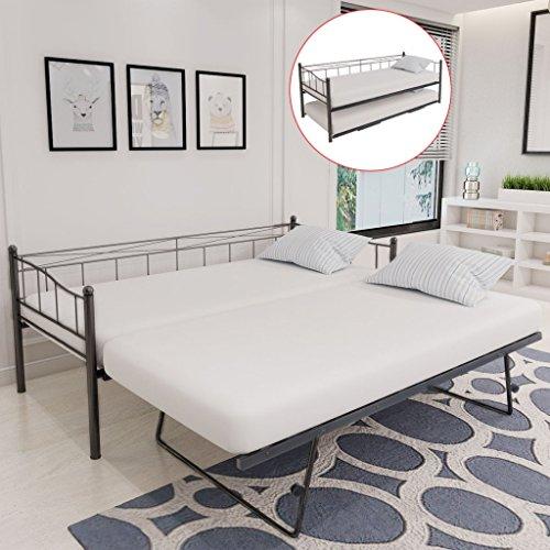 festnight einzelbett bettgestell g stebett metallbett bett aus metall ohne matratze 90 200 cm. Black Bedroom Furniture Sets. Home Design Ideas